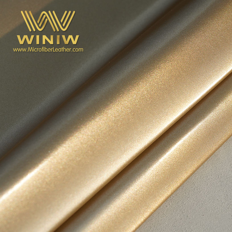 Microfiber Metallic Faux Leather Fabric Gold Color